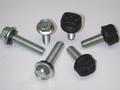 High-strength Grade 8 bin seal bolts feature special JS1000™ weather-resistance coating. Optional polypropylene-encapsulated heads provide enhanced corrosion resistance.